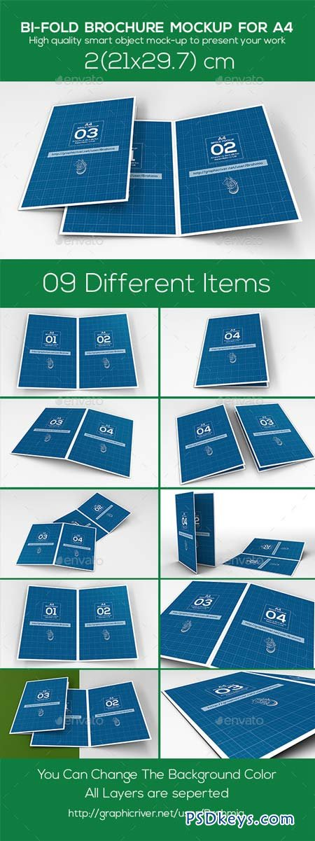Bi Fold Brochure Mockup A4 9327408