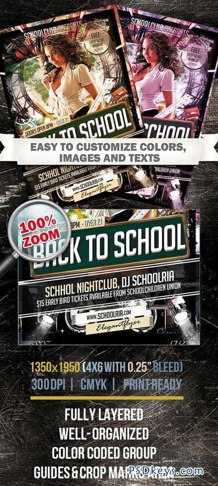 Back To School – Club and Party Flyer PSD Template