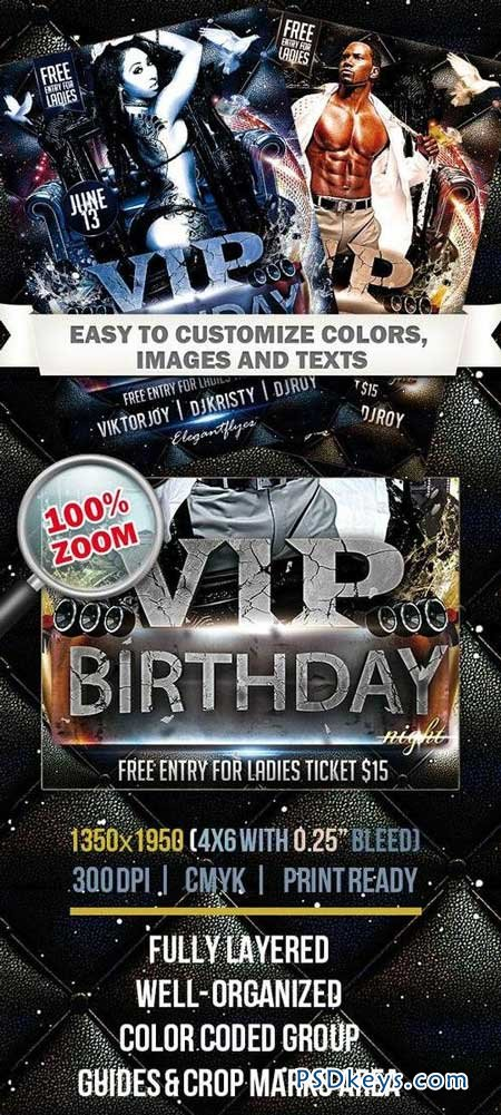 VIP Birthday Night – Club and Party Flyer PSD Template