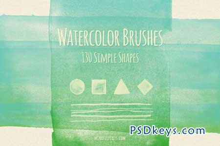 130 Simple Shapes Watercolor Brushes 4204