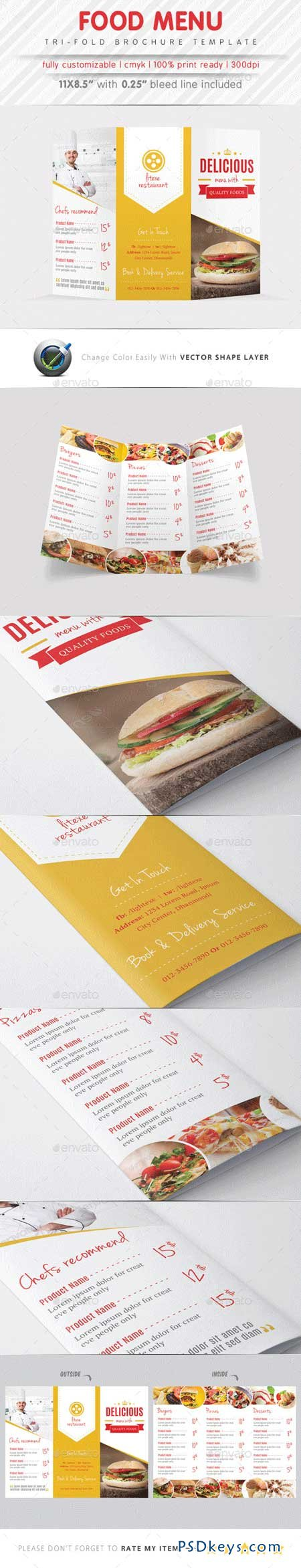 Food Menu Tri Fold Brochure 9343324