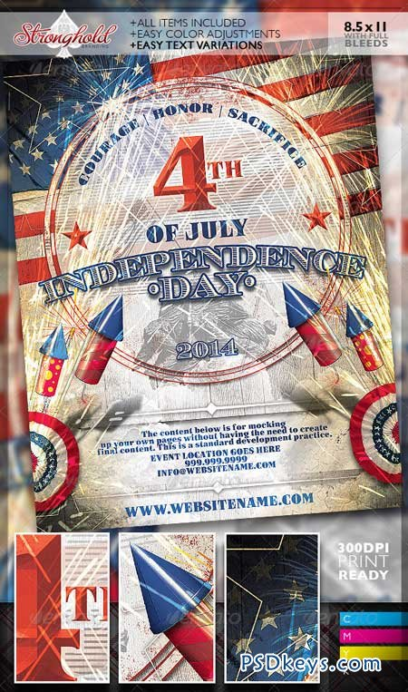 Vintage 4th of July Event Flyer Template 8002831