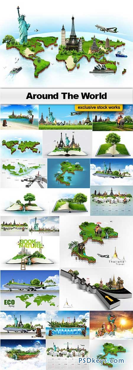 Around The World - 25xJPEGs » Free Download Photoshop Vector