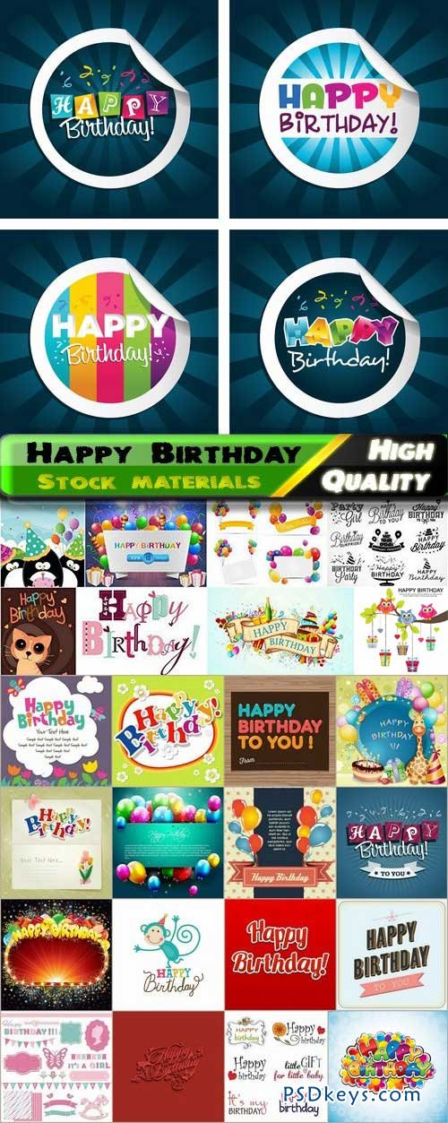 Happy Birthday Template Design in vector from stock #3 - 25xEps