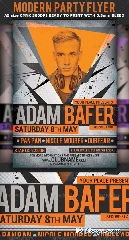 Modern Minimal Party Flyer Template 4549194