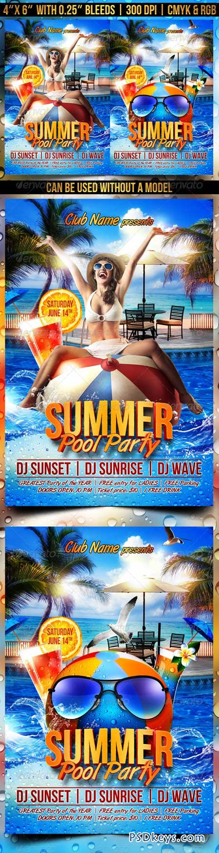 Summer Pool Party Flyer 8102746