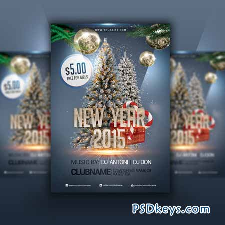 Happy New Year 2015 - Flyer PSD 112911