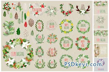 56 Christmas clip arts + 12 cards 70881