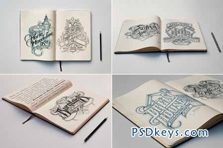Sketch Book Mockups 14525 » Free Download Photoshop Vector Stock