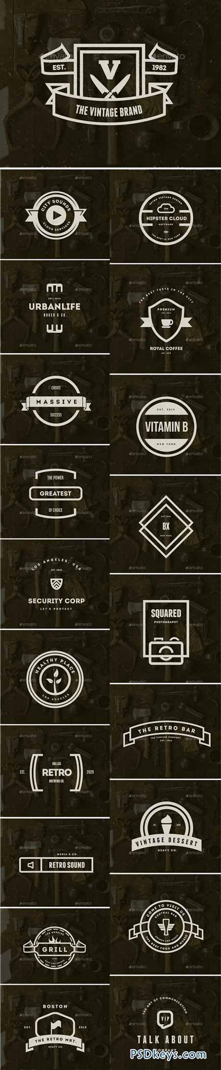 20 Vintage Logos Labels & Badges 9443753 » Free Download