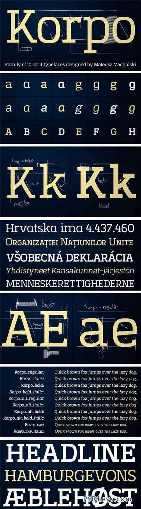 Korpo Serif Font Family - 10 Fonts for $150