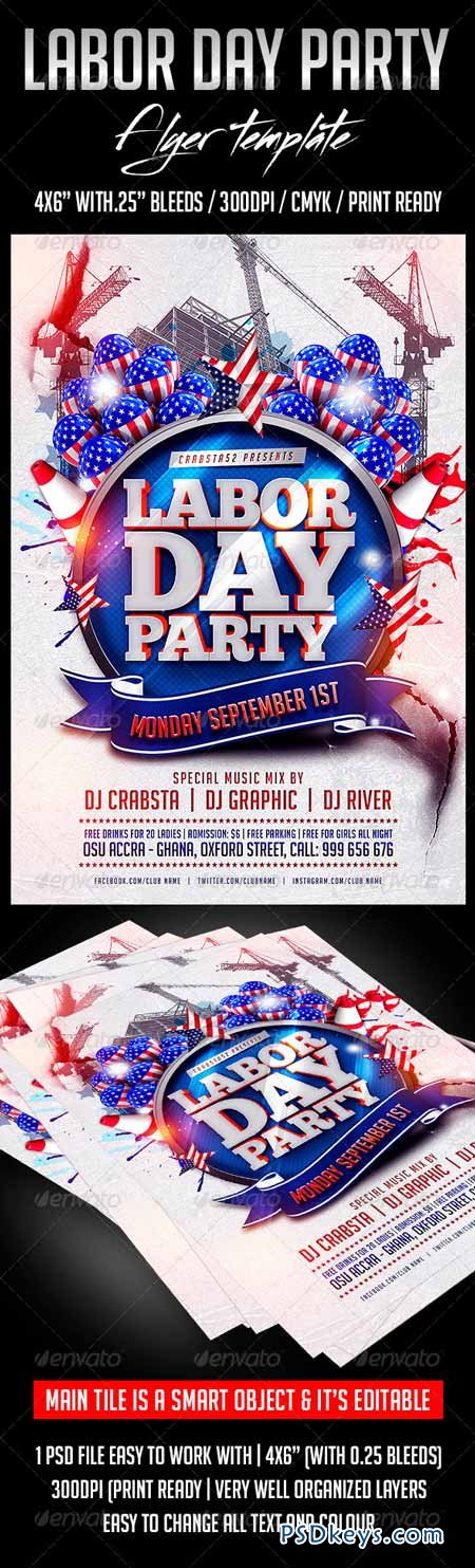 Labour Day Party Flyer Template 8604495