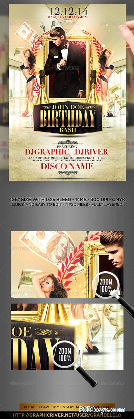 Classy Birthday Bash Flyer Template 8240640