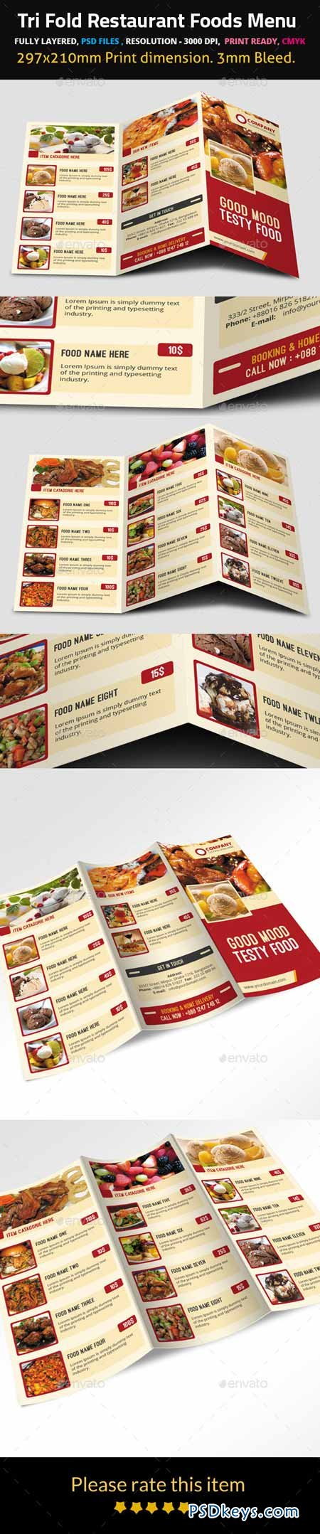 Tri Fold Restaurant Foods Menu 9500024