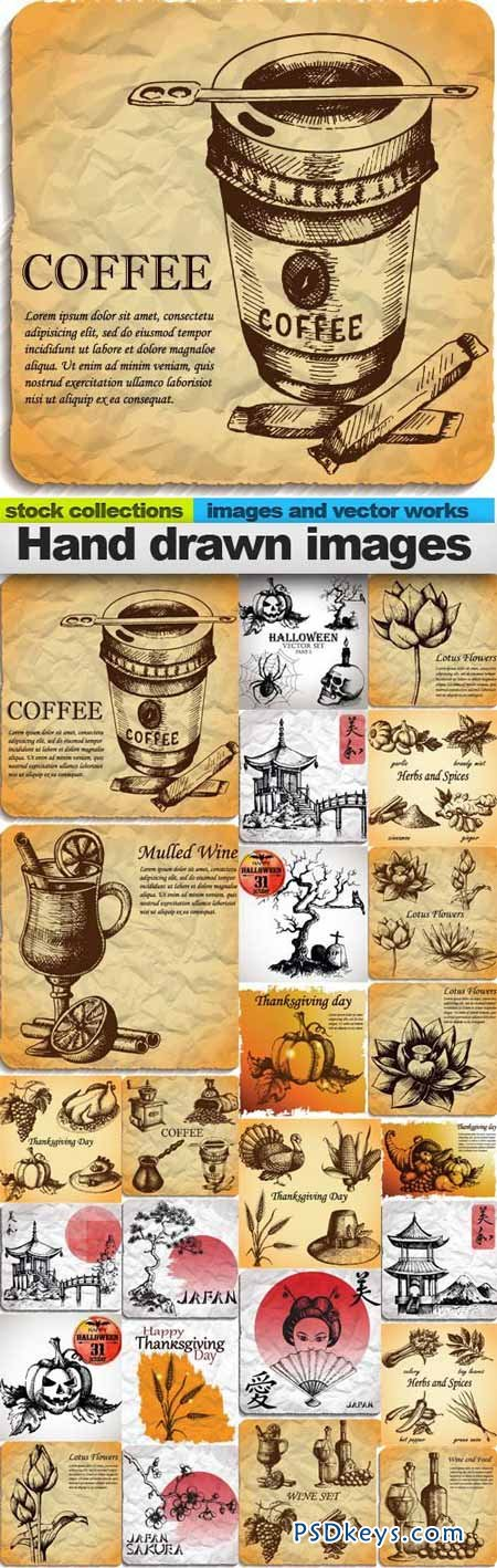 Hand drawn images 25xEPS