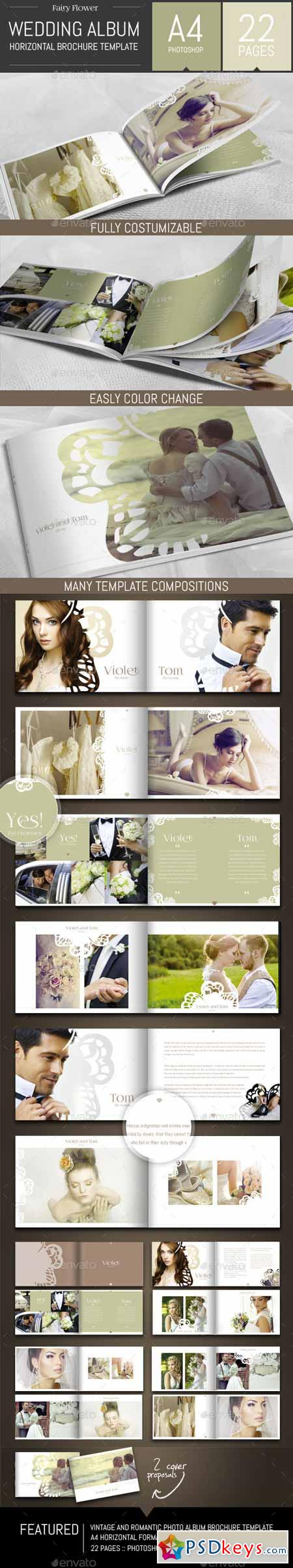 wedding photo album templates in photoshop - wedding photo album horizontal brochure template 9255724
