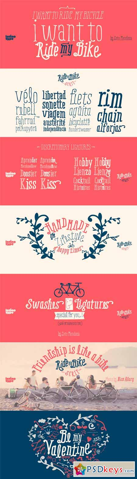 Ride my Bike Serif Font Family - 5 Fonts for $129