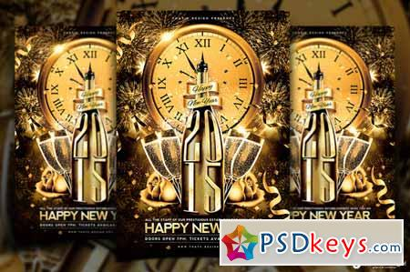 New Year Flyer Template V2 95598 » Free Download Photoshop Vector