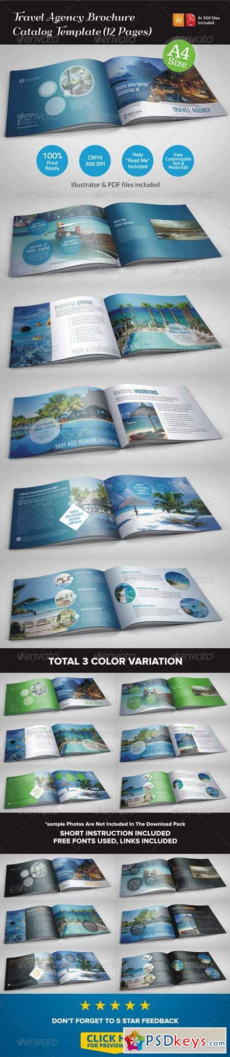 Travel Agency Brochure Catalog Template (12 Pages) 6925114