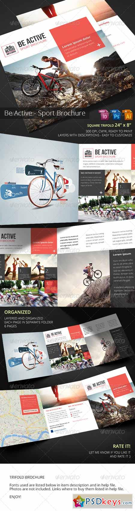 Be Active Bike Sport Square Trifold Brochure 7658861