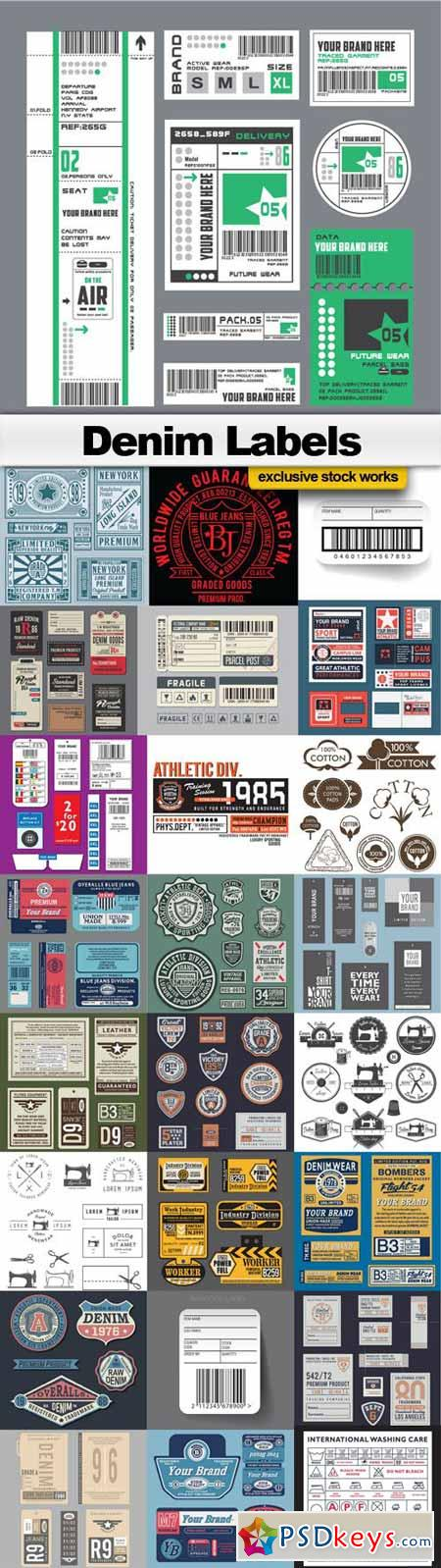 Denim Textile Vector Labels - 25xEPS