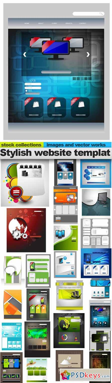 Stylish website template 25xEPS