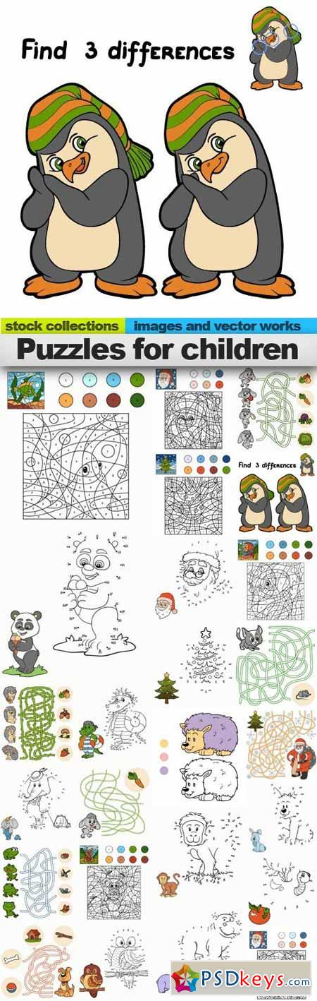 Puzzles for children 25xEPS