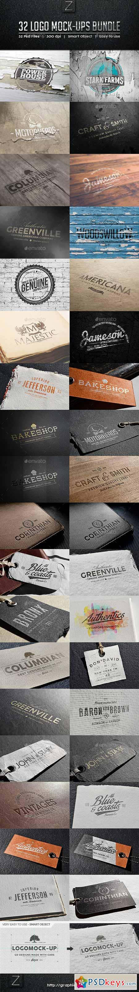 32 Logo Mock-ups Bundle 9451356