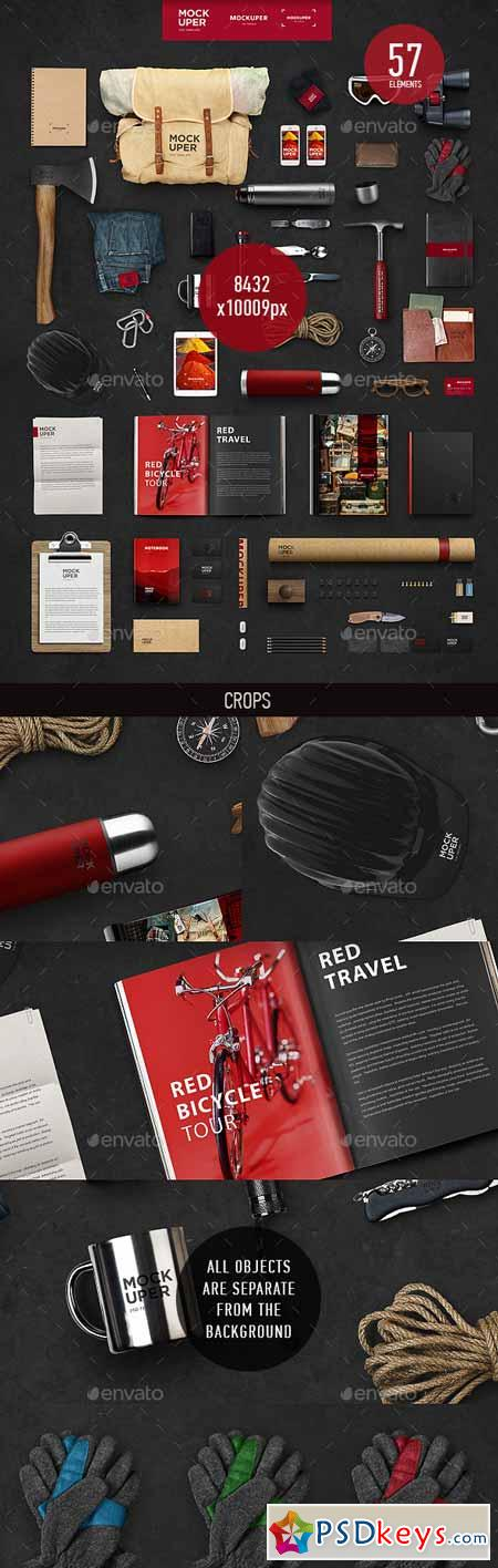 Travel Brutal Branding Mock-Up (PSD) 9517348