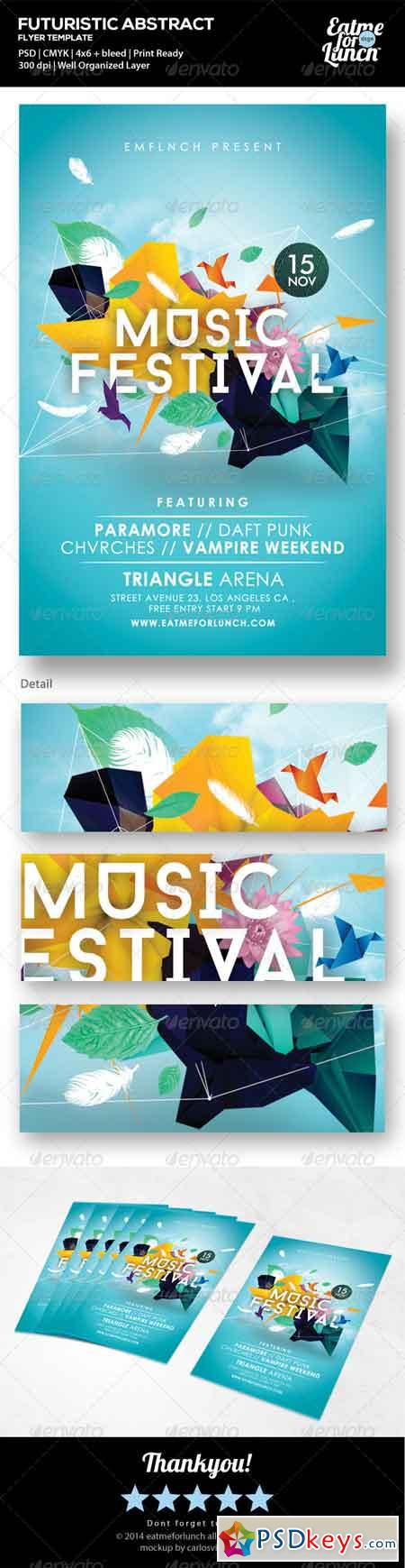 Futuristic Abstract Gigs Festival Flyer Templates 7056792