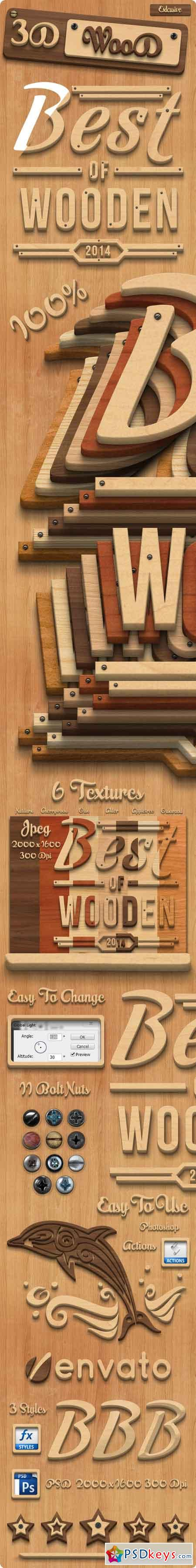3D Wood Creation Photoshop Actions 8012911