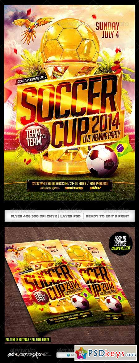 Brazil Soccer Cup 2014 Football Flyer 7655981