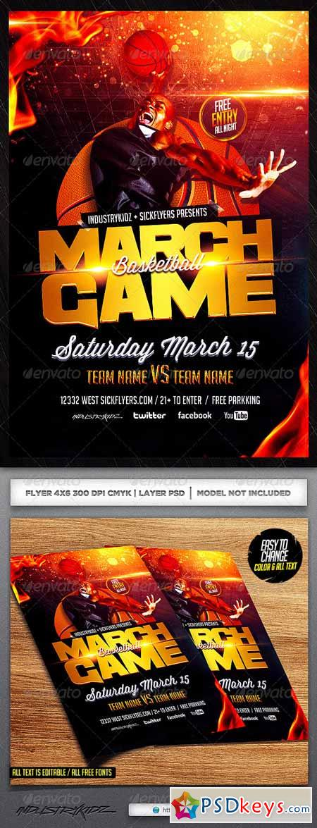 March Game Basketball Flyer Template 6722639