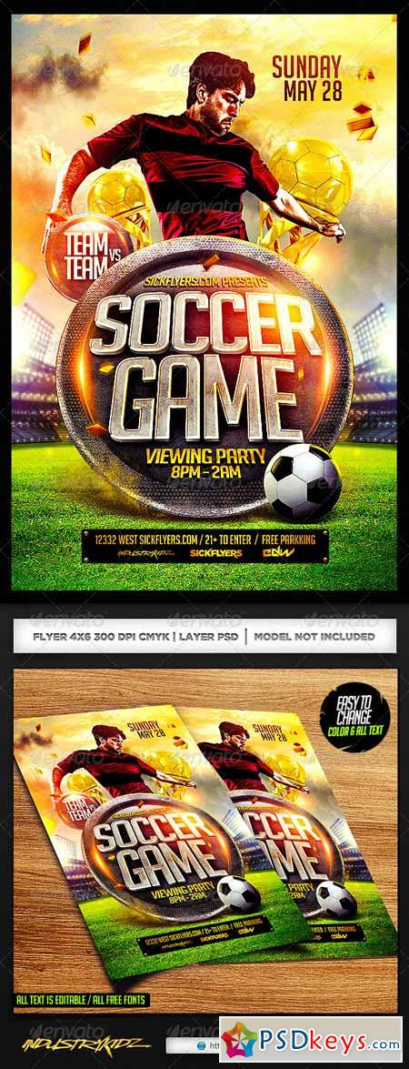Soccer Flyer Template Psd   Free Download Photoshop Vector