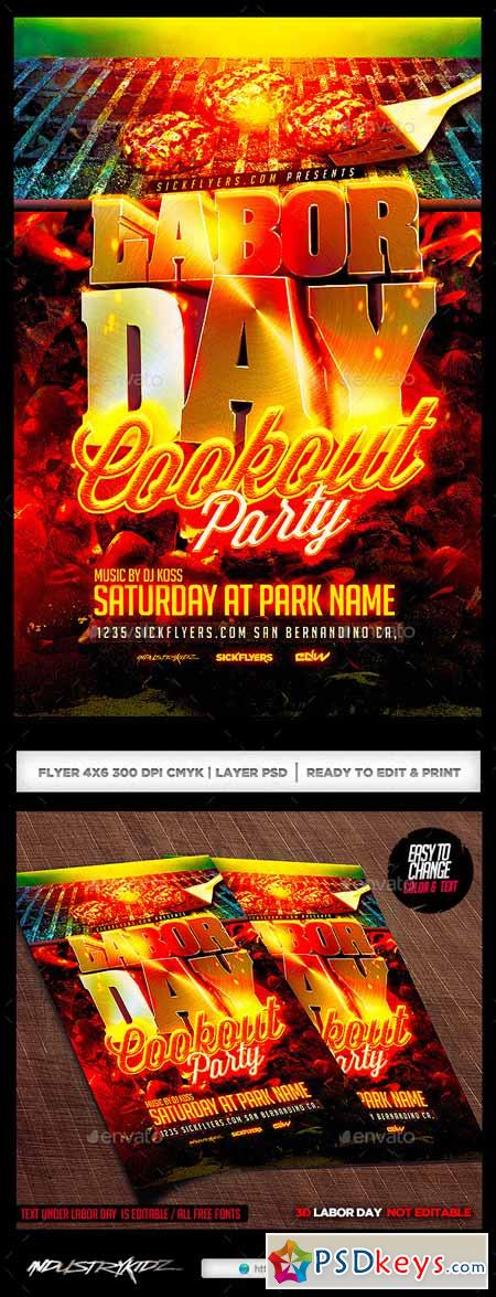 Labor Day Cookout Party Flyer Template 8565355