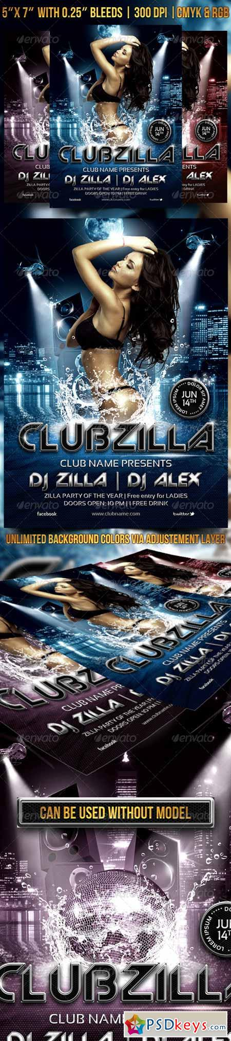 Clubzilla Party Flyer 7027399