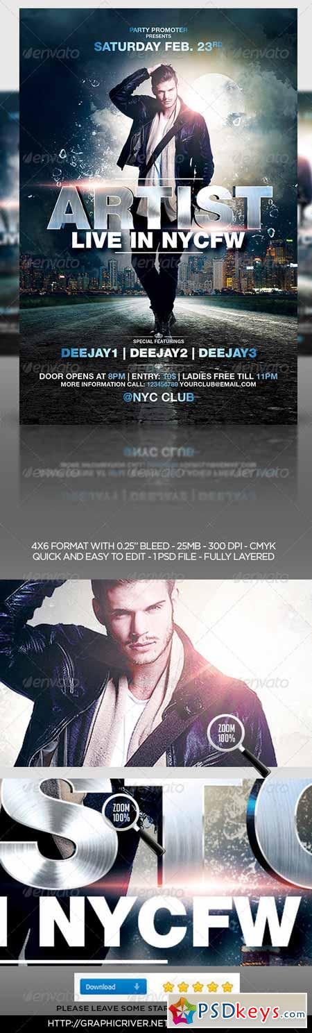 House Music DJ Flyer Template 6840870