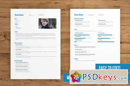 2 Pages Resume Template Free Download.2 Page Cv Template Easy To Edit 77230 Free Download