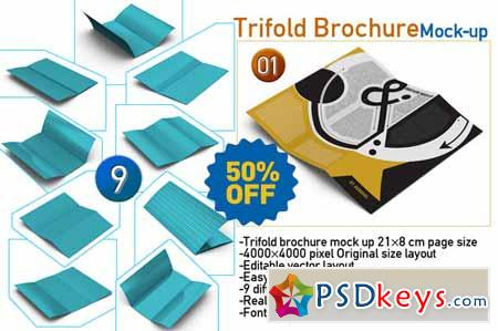 9-Trifold Brochure Mock Up 108841