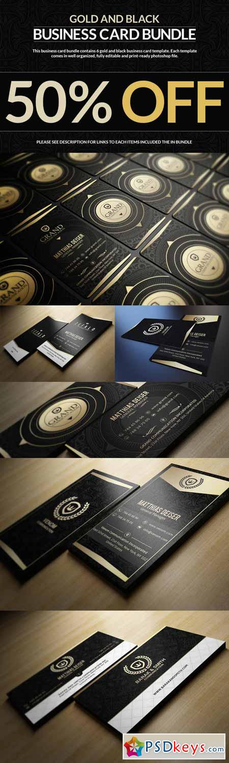 6 Gold And Black Business Cards 96178