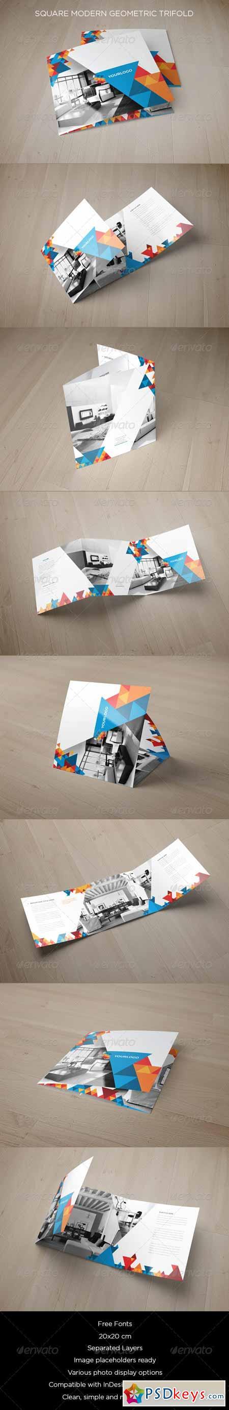 Square Modern Geometric Trifold 8714368