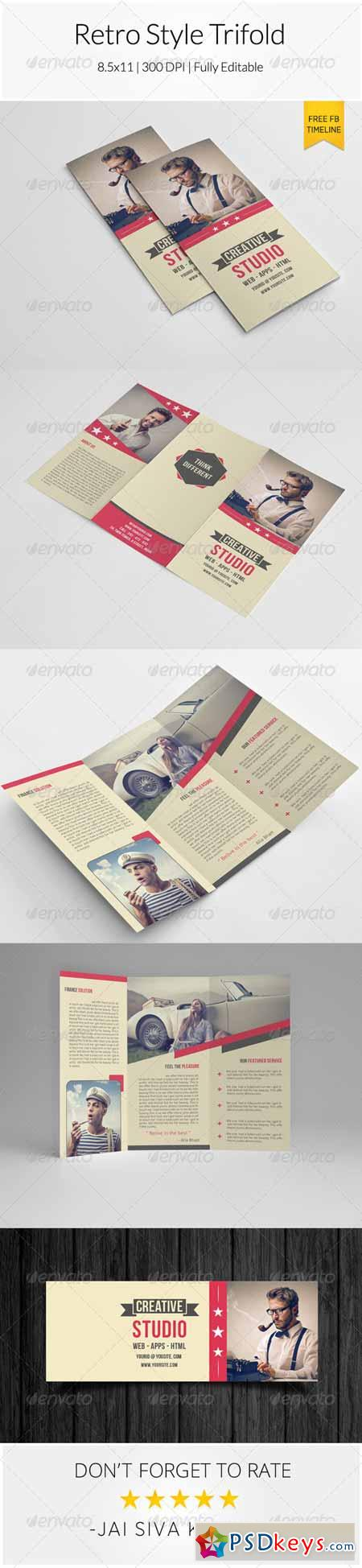 Retro Style Trifold Brochure 8174601