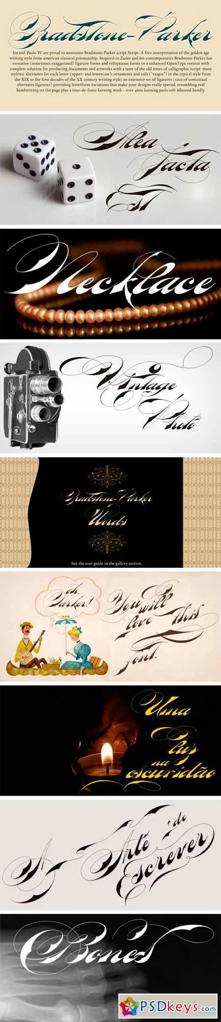 Bradstone-Parker Script Font $65