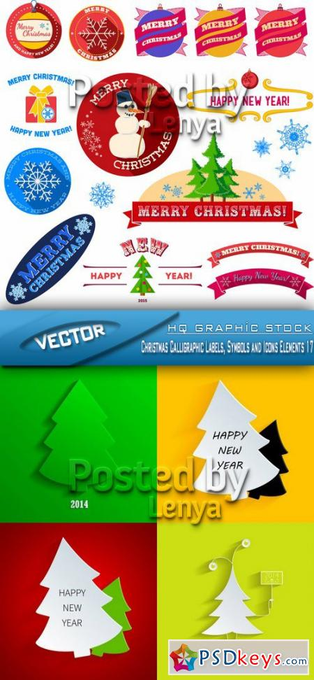 Christmas Calligraphic Labels, Symbols and Icons Elements 17