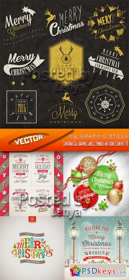 Christmas Calligraphic Labels, Symbols and Icons Elements 18