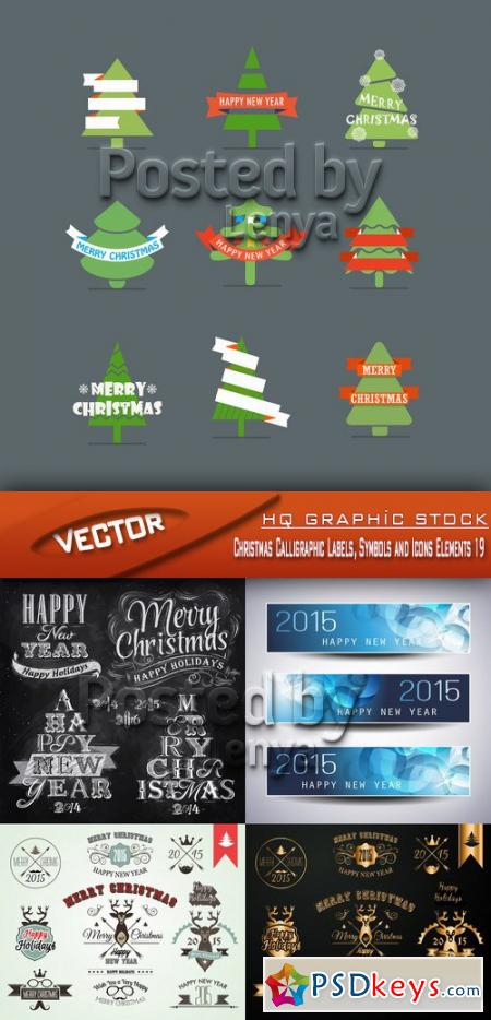 Christmas Calligraphic Labels, Symbols and Icons Elements 19