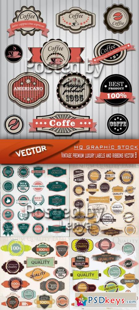 Vintage premium luxury labels and ribbons vector 8