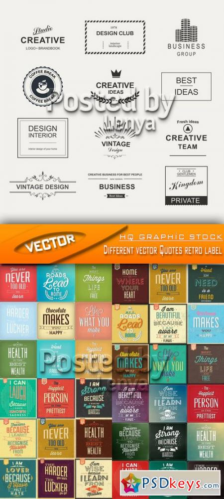 Different vector Quotes retro label