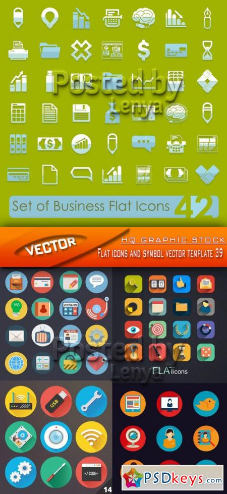 Flat icons and symbol vector template 39