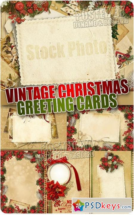 Vintage xmas greeting card - UHQ Stock Photo